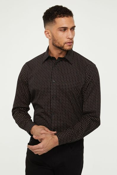 Comfort fit non-iron micro pattern shirt