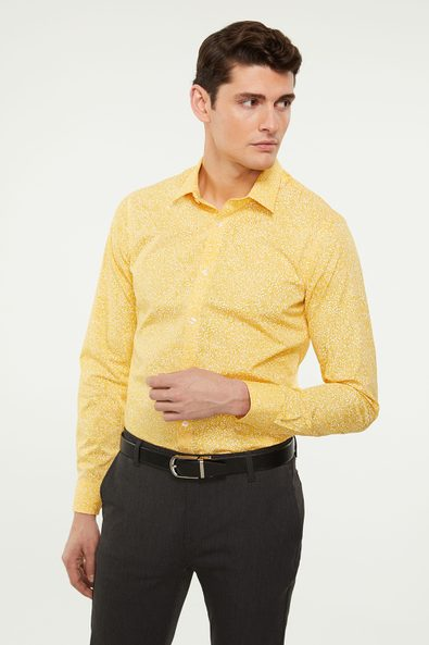 Extra-fitted non-iron floral shirt