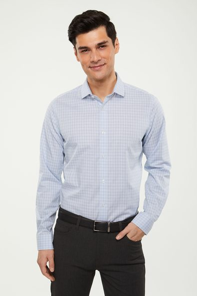 Extra-fitted non-iron check shirt