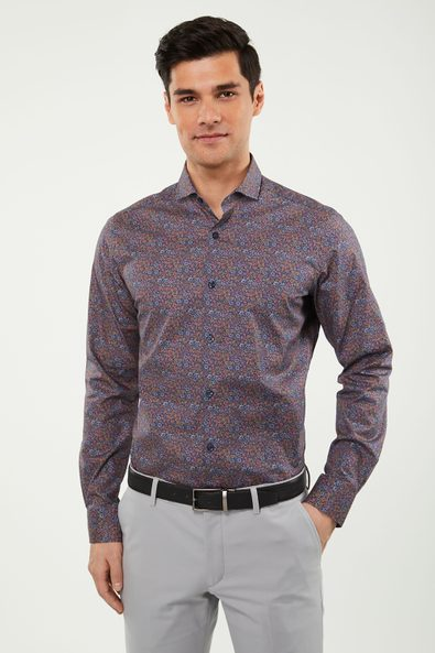 Extra-Fitted stretch floral shirt