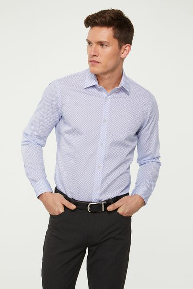 Extra-fitted non-iron printed shirt