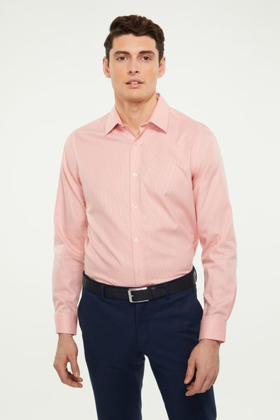 Non-iron two tone houndstooth shirt