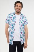 Non-iron Extra-Fitted foliage print shirt