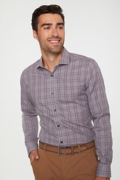 Non iron Extra-Fitted glen check shirt