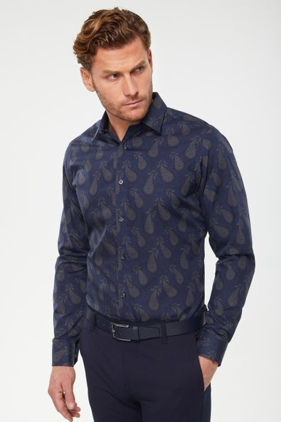 Non-iron paisley printed shirt