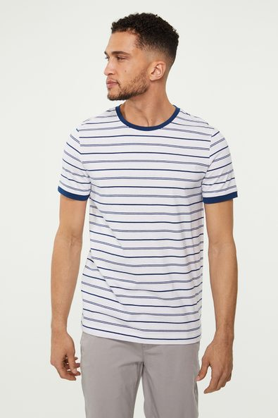 Contrast detail striped t-shirt