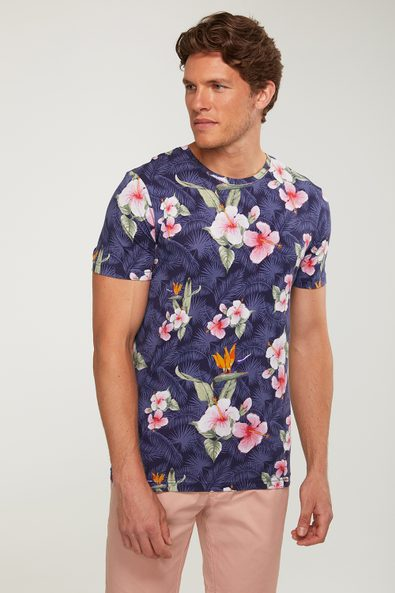 Tropical print crew neck t-shi