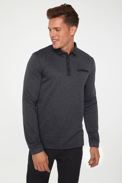 Long sleeve herringbone polo