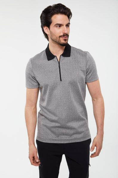 Vertical stripes zip polo