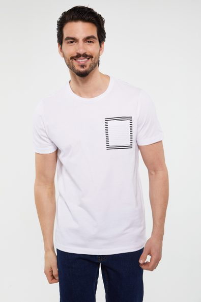 T-shirt with stripes at pocket