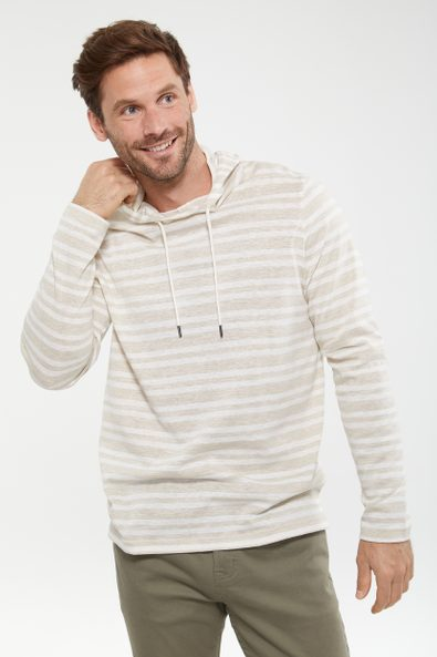 Hooded striped sweater t-shirt
