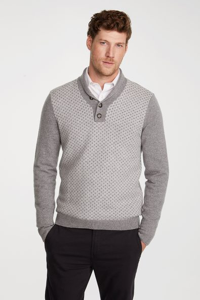 Jacquard front shawl collar sweater