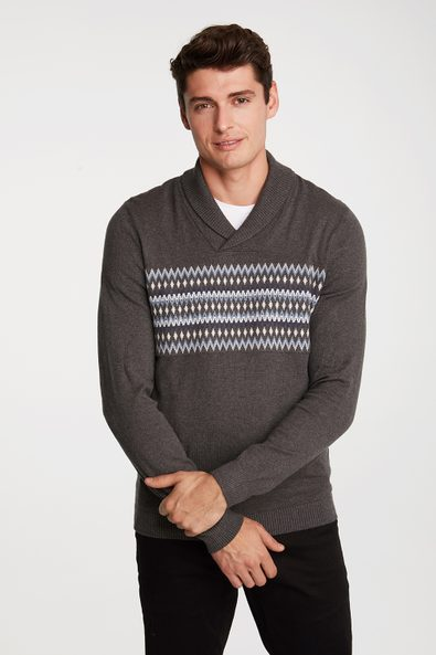 Shawl collar jacquard sweater