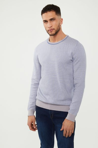 Colourful textured crew neck sweater