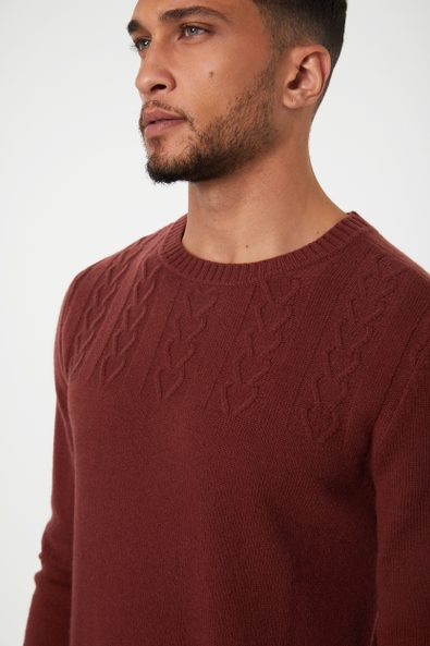 Cable details merino wool sweater
