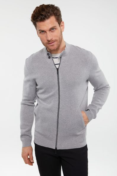 Zip cardigan with mock neck