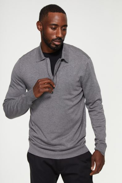 Solid zip polo