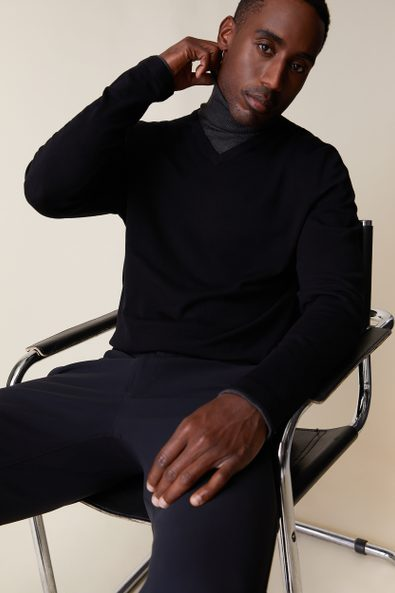 2 in 1 look turtle neck sweater