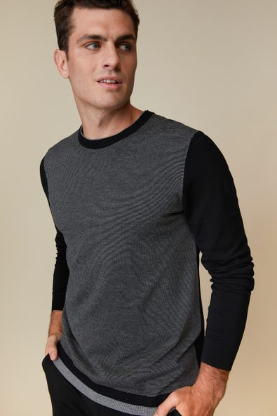 2 in 1 look striped front crew neck sweater