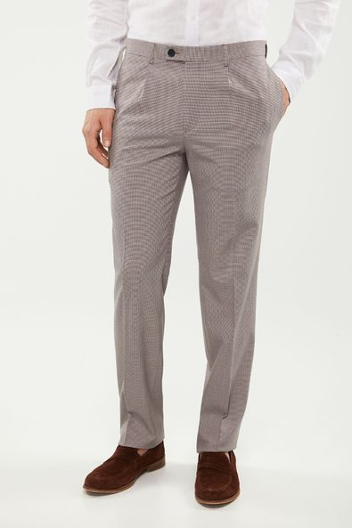 Three tone houndstooth pleated pant