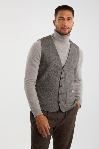 Tweed-look sleeveless vest