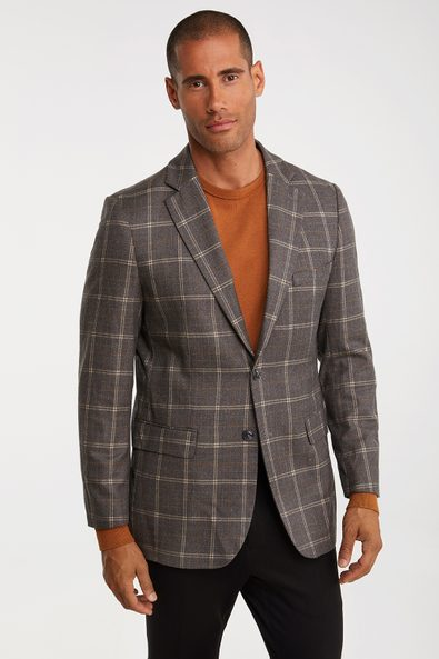 Removable collar Fitted check blazer