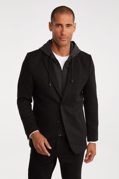 Removable hood knitted blazer