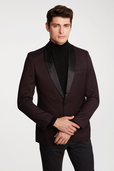 Extra-fitted two tone jacquard blazer