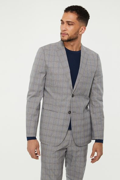 Extra-fitted check blazer