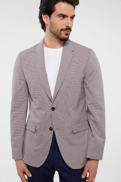 Extra-Fitted houndstooth blazer