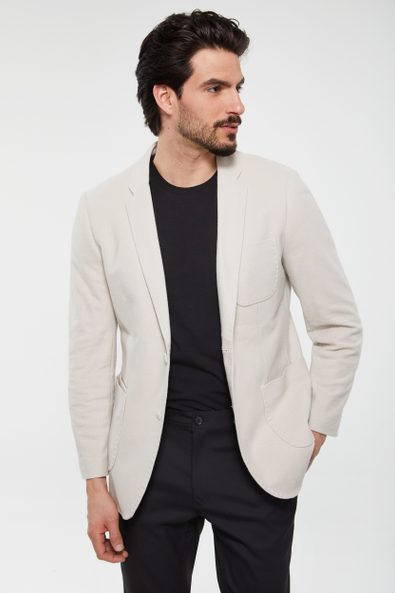 Pique jersey fitted jacket