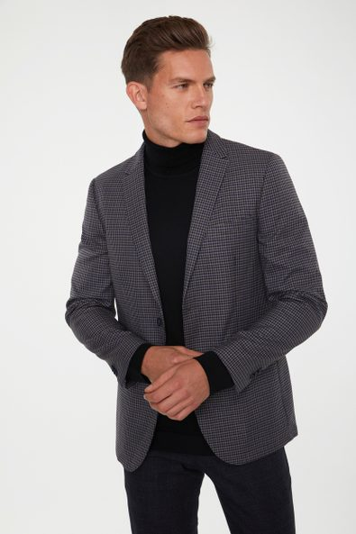 Extra-fitted micro check jacket