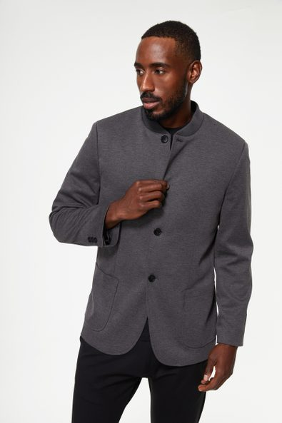 Bomber collar knitted jacket