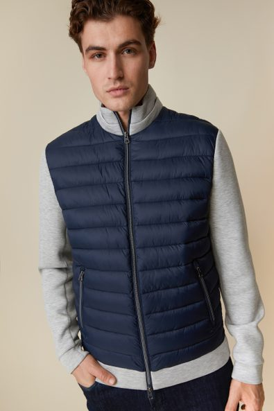 Mixed fabric quilted jacket